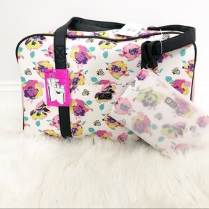 Betsey Johnson Two Piece Floral Weekender Bag
